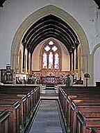 inside christ church. altar and stained glass windows