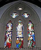 inside christ church. stained glass windows