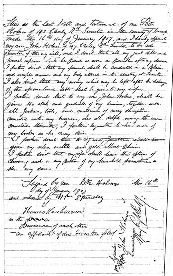 last will and testament of  Mr Peter holmes, swinton Lancashire